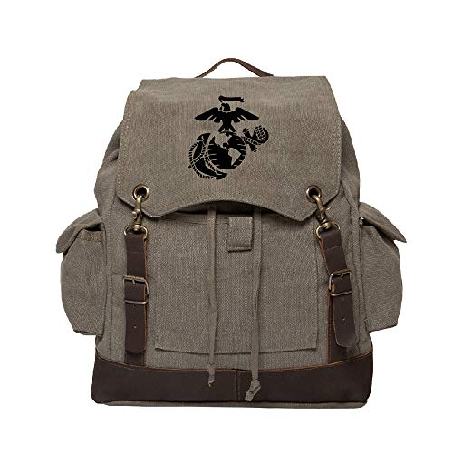 US Marine Corps Semper Fidelis Text Canvas Rucksack w/Leather Straps, Olive & Bk