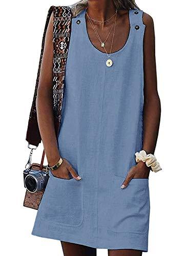 Valphsio Women's Sleeveless Button Dress Crew Neck Casual Mini Shift Dress with Pocket