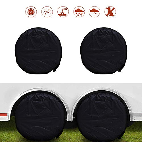 NEVERLAND Set of 4 Tire Covers, Waterproof UV Sun RV Trailer Tire Protectors, Fit 27