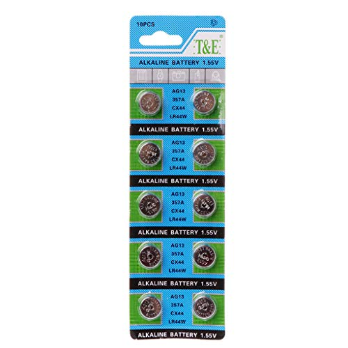 10PCS Button Coin Cell Alkaline Battery AG13 1.5V LR44 386 Watch Toys Batteries Control Remote SR43 186 SR1142 LR1142 by BLINGYING