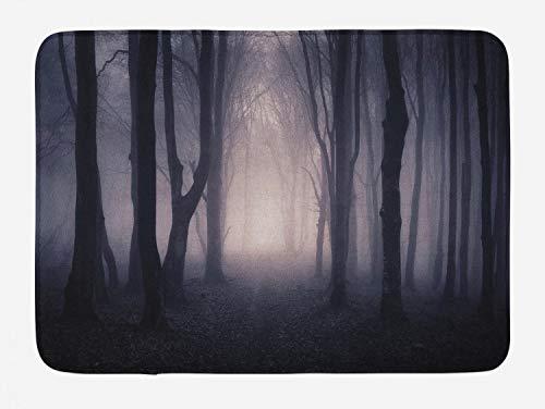 Ambesonne Forest Bath Mat, Path in Dark Deep