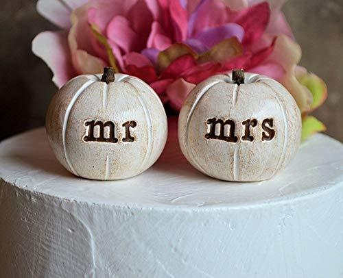 Pumpkin wedding cake topper.2 rustic white