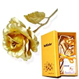 KDLINKS 24K 6 Inch Gold Foil Rose, Best Valentine's Day Gift, Handcrafted and Last Forever! - Double Size Rose Flower + Free Gift Card