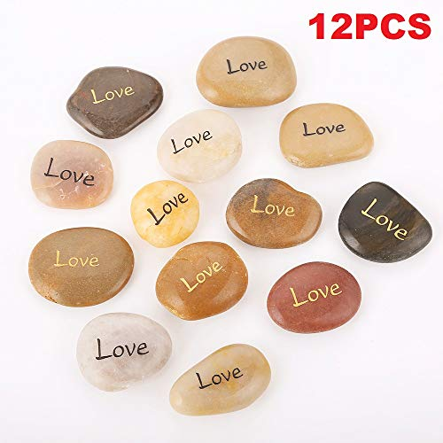 Rock Impact Love Engraved Inspirational Pocket Stone Comfort Stones Inspiring Encouraging Comforting Word Stone Bulk Lot Reiki Healing Balancing Palm Stones (Pack of 12, Love) ()