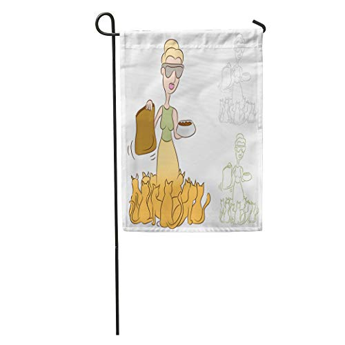 Semtomn Garden Flag Crazy of Cat Lady Feeding Food to Her Pets Herd Home Yard House Decor Barnner Outdoor Stand 28x40 Inches -