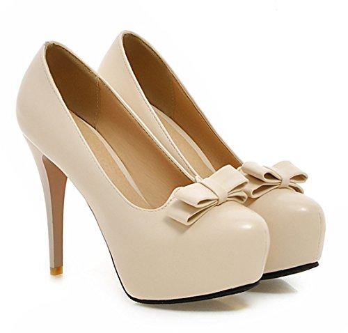 YE Damen 12cm High Heels Plateau Stilettos Geschlossen Runde Pumps mit Schleife Party Elegant Moderne Schuhe Beige