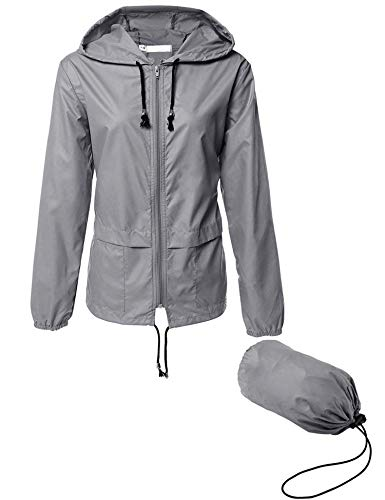 Women's Lightweight Raincoat,Waterproof Active Outdoor Travel Hiking Rain Jacket Lightweight Travel Trench Raincoat M