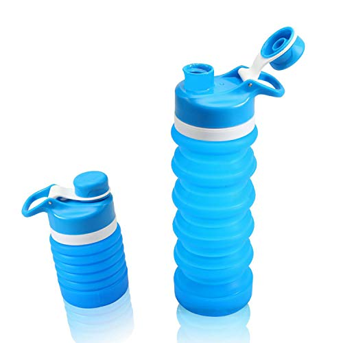Yeeone Collapsible Water Bottle Food-Grade Silicone FDA Approved,BPA Free, Leak Proof Portable Travel &Sports Water Bottle (Sky -