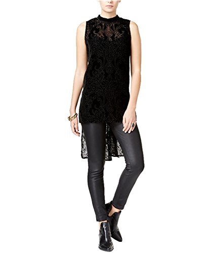 Bar III Womens Velvet Burnout Tunic Top Black L ()