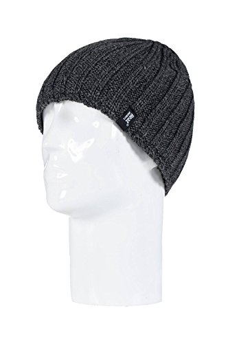 HEAT HOLDERS Mens Plain Ribbed Knitted 3.4 tog Thermal Winter Beanie Hat Grey