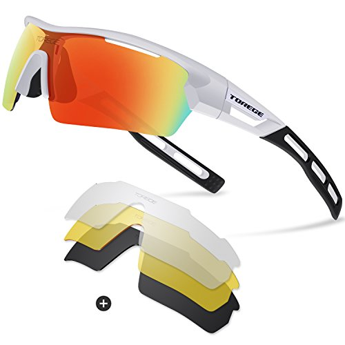 Torege Polarized Sports Sunglasses for Men Women Cycling Running Driving TR033(White&Black tips&Red - Bike Glasses