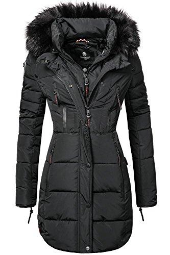 Abrigo Pelo con Negro Mujer Guateado para XS Colores Invierno Largo wZBY6f0q