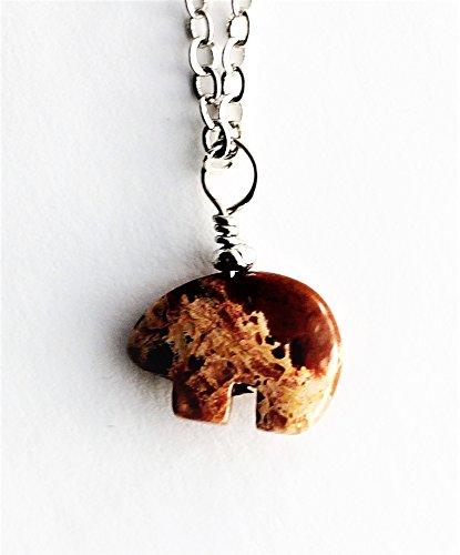 Bear Necklace Spirit Animal Zuni Style Totem Fetish Jasper Stone