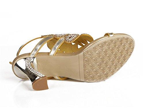 Strass nuziale Pavone EUR sandali 43 fine medio ZPL UK Ballo Nozze fatto di Gold Sera Patterned mano a Le Donna signore Tacco anno 10 qz1It7