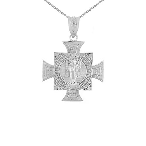 (10k White Gold St. Benedict of Nursia Maltese Cross Pendant Necklace (0.97