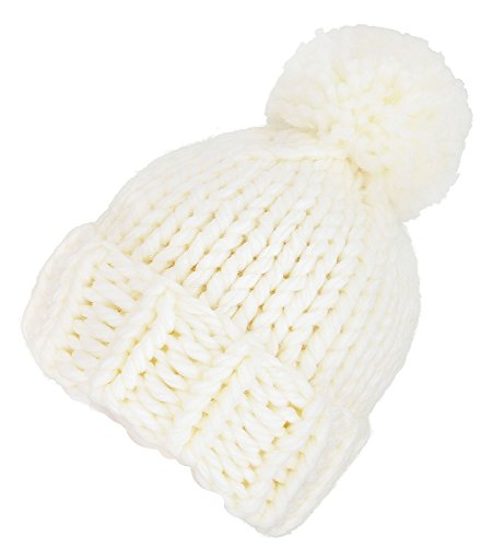 Arctic Paw Women's Super Chunky Cable Knitted Beanie Hat with Pompom White Chunky Cable Hat