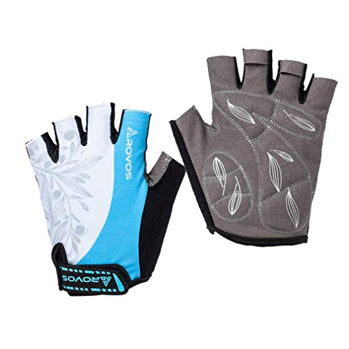 ROVOS Bicycle Gloves Women Padded Breathable Bicycle Gloves Half Finger (Columbia Blue,Small) (Best Womens Cycling Gloves)
