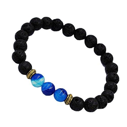 Baishitop Black Lava Rock Bracelet, Beaded Bracelet Tibet Charm Elastic Bracelet (Blue) (Italian Gold Heart Charm 14kt)