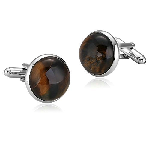 (Aooaz Mens Stainless Steel Cufflinks Brown Simple Round Amber Shirt Business Wedding 1.7X1.7Cm [Gift Box])