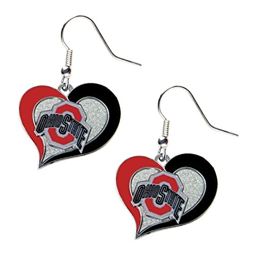 Glimmer Swirl - aminco Ohio State Buckeyes Swirl Heart Dangle Logo Earring Set Charm Gift NCAA