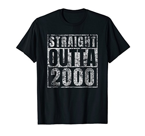 Straight Outta 2000 18 Year Old 18th Birthday Gift T-Shirt ()