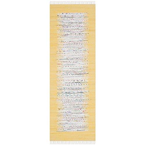 """Safavieh Montauk Collection MTK711Q Handmade Flatweave Ivory and Yellow Cotton Runner (2'3"""" x 6')"""