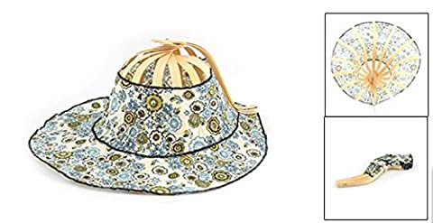Lady Bamboo Flower Pattern Dual-use Beach Foldable Hand Fan Sun Hat Assorted Color