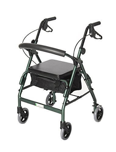 (Essential Medical Supply Featherlight 4 Wheel Walker/Rollator with Loop Hand Brakes, Forrest Green)
