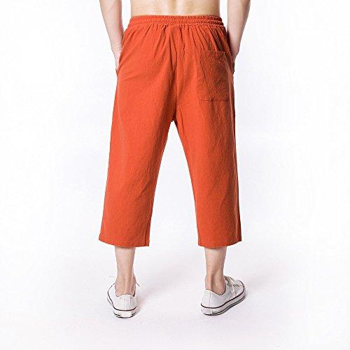 Pantaloni Colore Sciolto Relaxatio Uomo Coulisse Jeans Puro Casual Moda Yesmile Fitness Lino Pantalone Arancione Jogging BCordxe