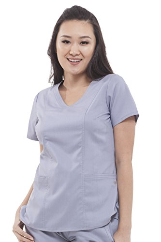 Purple Label Women's Jordan 2172 Mock Wrap Scrub Top by Healing Hands Scrubs- Grey- S - Pocket Crossover Scrub Top