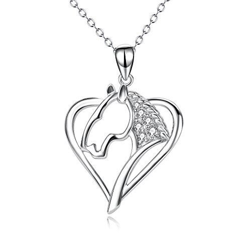(Angel caller Sterling Silver Horse Necklace Heart Shaped Horse Lover Christmas Jewelry Gifts for Women Girls, 18