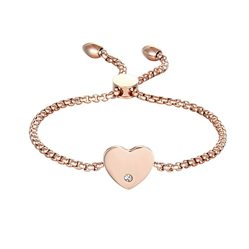 LF Personalized Bracelet for Women - Stainless Steel Name Initial Customized Wheat Chain Fiji Friendship Adjustable Link Bracelet for Woman Girls Rose Gold,Free Engraving