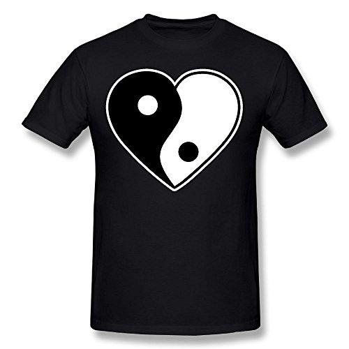 Men's O-Neck Hearts Yin Yang Tattoo Short-Sleeve T-Shirts Tops Tees ()