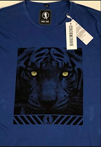 Dirk Bikkembergs Men's Royal Blue Tiger S/S Graphic T-Shirt 3XL