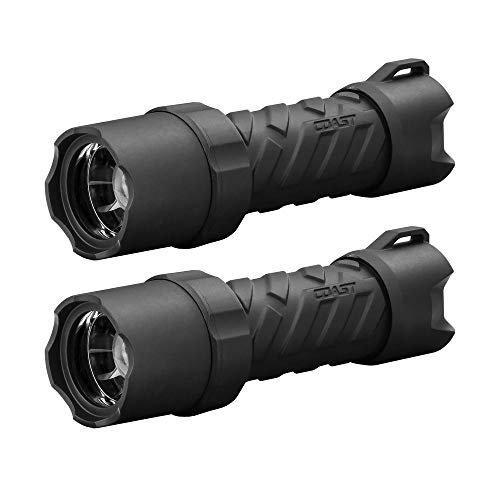 Coast 320 Lumens Heavy Duty Polysteel 300 LED Flashlight, Submersible, Crush Resistant and Drop Proof (2 Pack)