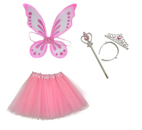 Rush Dance Ballerina Princess Fairy Dress up - Pixie Wings, Wand, Tiara & Tutu (One Size, Light Pink)