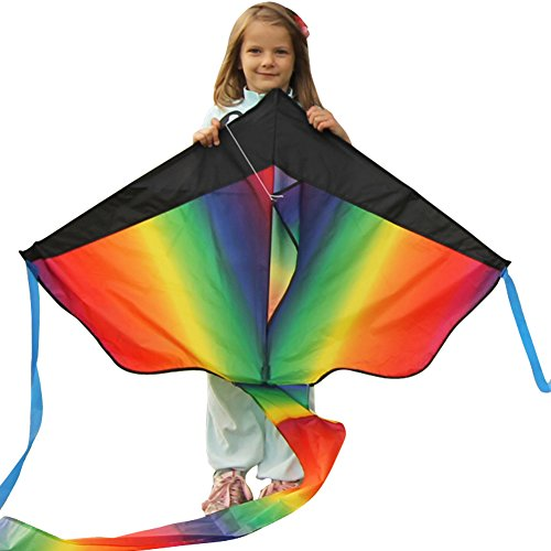 Huge Rainbow Kite For Kids - One Of The Best Selling Toys For Outdoor Games Activities - Good Plan For Memorable Summer Fun - This Magic Kit Comes With &
