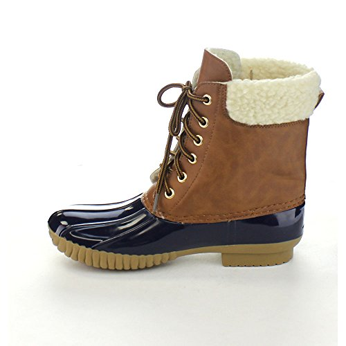 Two Lace AXNY Boot Sherpa Womens up Duck Navy Dylan Rain Tone 3 Snow Faux Lined 1q1tBSwfW