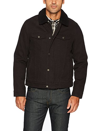 (Levi's Men's Cotton Canvas Tucker Jacket with Sherpa Collar, Black, Small)