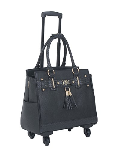 ''The Berkeley'' Black Spinner Wheel Rolling iPad Tablet or Laptop Tote Carryall Bag by JKM and Company