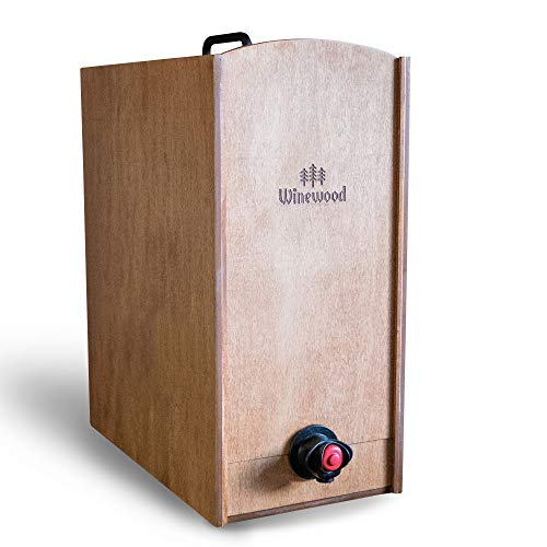 Boxed Wine Wood Case by Winewood   Hazelnut Stain   Fits 3 Liter and 5 Liter Boxes of Wine   Holder, Dispenser, Cover for Boxed Wine (Jewel Box Wine)