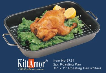 KittAmor 2 Piece Non-Stick Roasting Pan Set