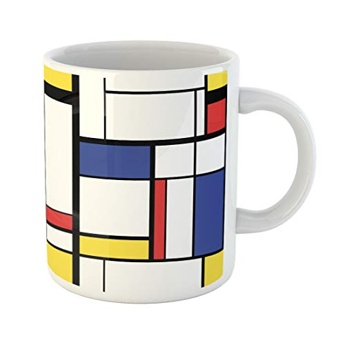 Emvency Funny Coffee Mug Blue Cubism Abstract Modern Painting in Mondrian Colorful Artistic 11 Oz Ceramic Coffee Mug Tea Cup Best Gift Or Souvenir