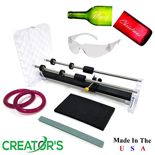 Creator#039s Glass Bottle Cutter Bundle  Precision DIY Pro Series  Carbide Scoring Wheel Engraved Ruler Rubber Coated Ball Bearing Rollers and More  Craft Wine/Beer/Liquor Bottles  Made in USA