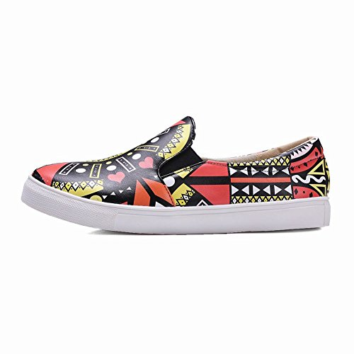 Charm Foot Womens Fashion Multicolor Flat Loafer Shoes Red TC08eN3sxJ