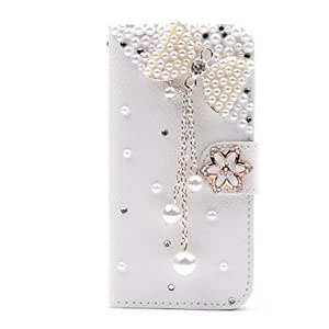LZX Wallet Style Diamond Bowknot Flower Flip Litchi PU Leather Case with Stand for Samsung Galaxy S3 SIII Mini i8190