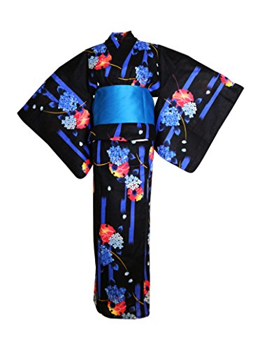 2be4be6e24 myKimono Women s Traditional Japanese Kimono Robe Yukata 521 with Obi Belt
