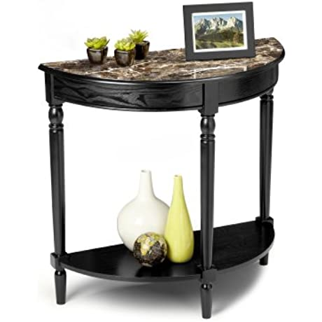 Convenience Concepts M6042182 French Country Coffee Table With Bottom Shelf Black Faux Marble Top