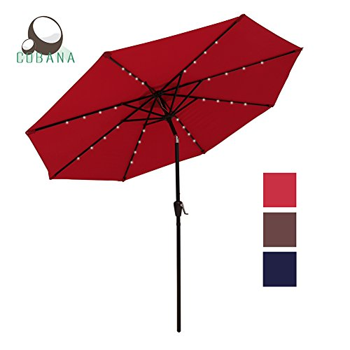 COBANA 9 Ft 32 Solar Powered LED Lighted Outdoor Table Umbrella Aluminum Patio Umbrella, 100% Polyester, Red 100 Patio Umbrella