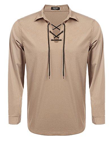Kilt Accessories - Coofandy Mens Scottish Jacobite Ghillie Kilt Shirt Casual Long Sleeve Lace-up Shirt,Light Khaki,Large